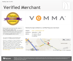 Example Verified Merchant page - Vemma Europe