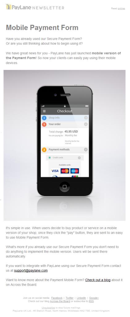 mobile form newsletter