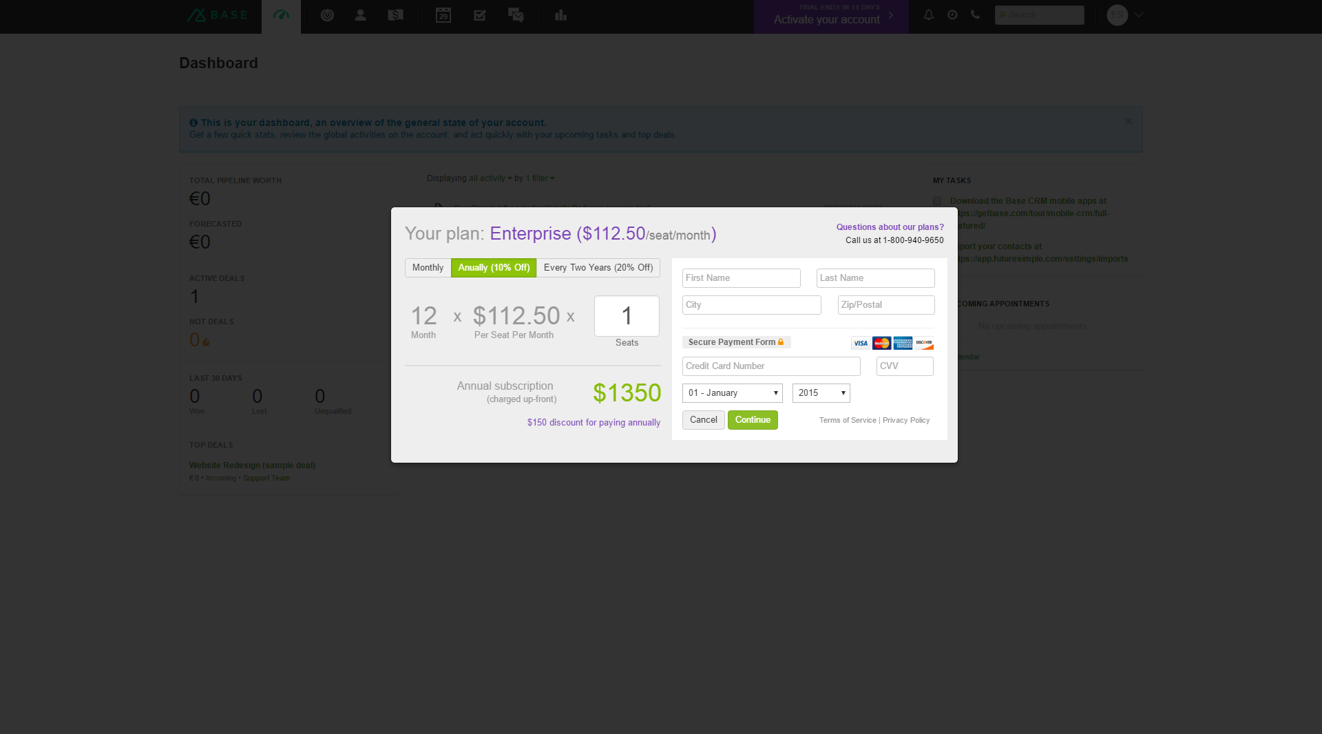 Base CRM - SaaS Payment Form