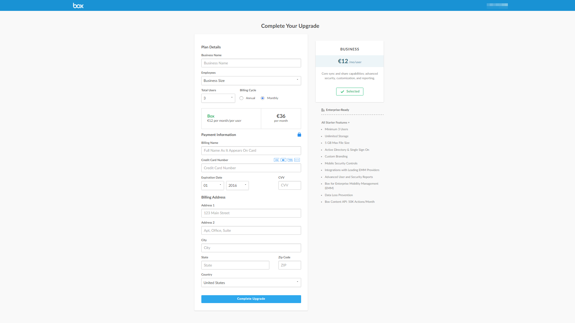 Box - SaaS Payment Form