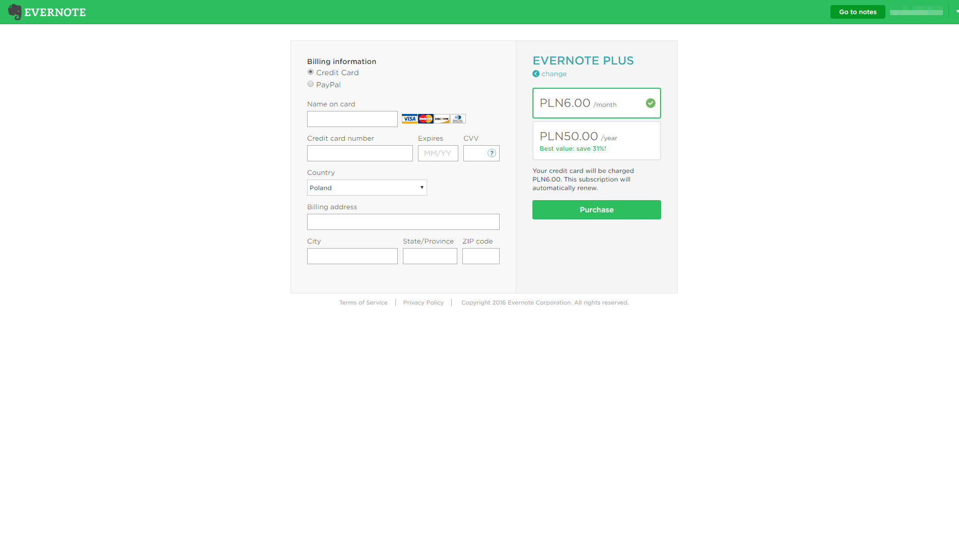 Evernote - SaaS Payment Form