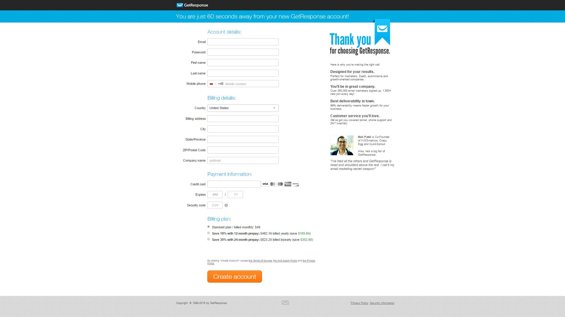 GetResponse - SaaS Payment Form