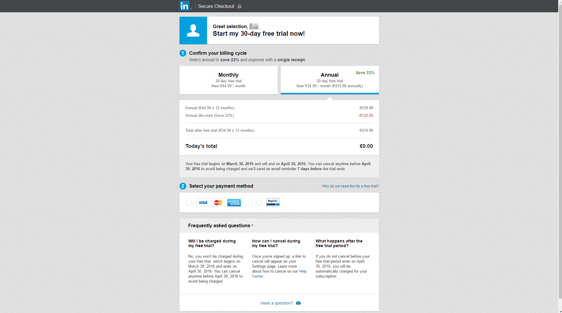 LinkedIn - SaaS Payment Form