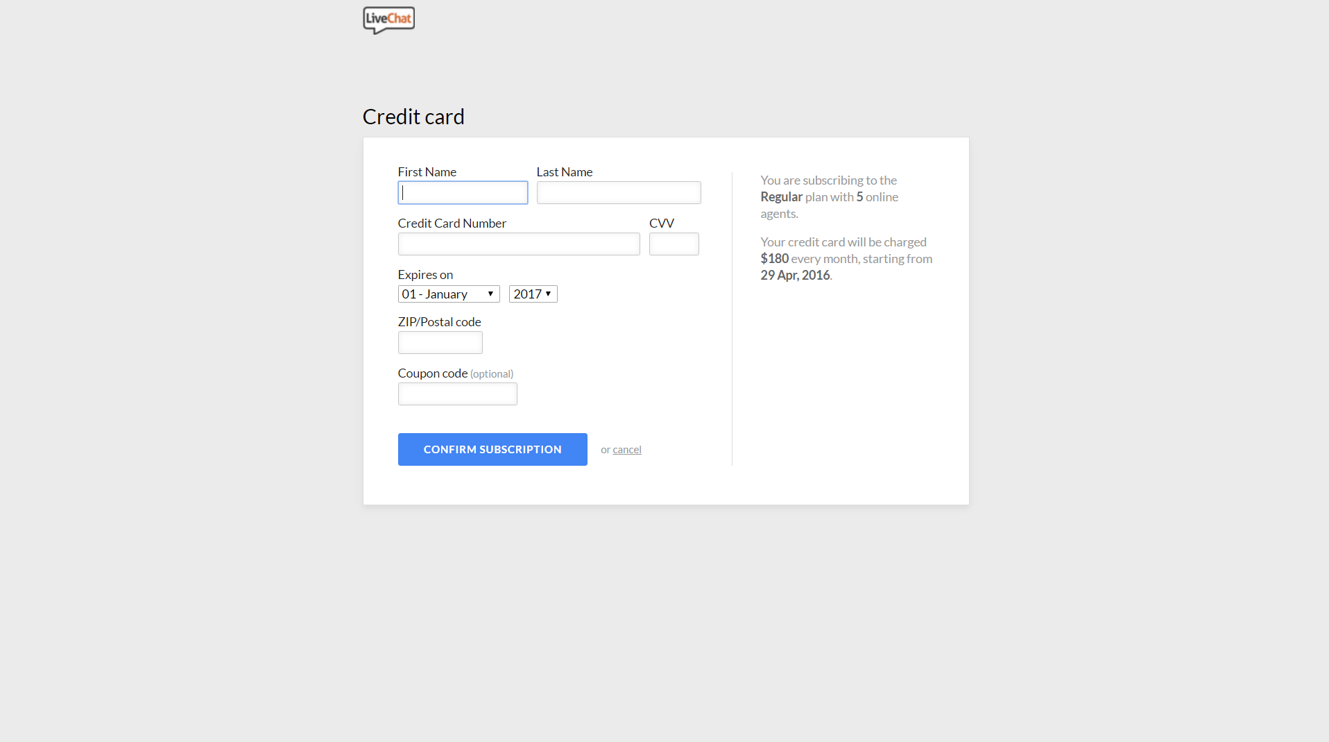 LiveChat - SaaS Payment Form