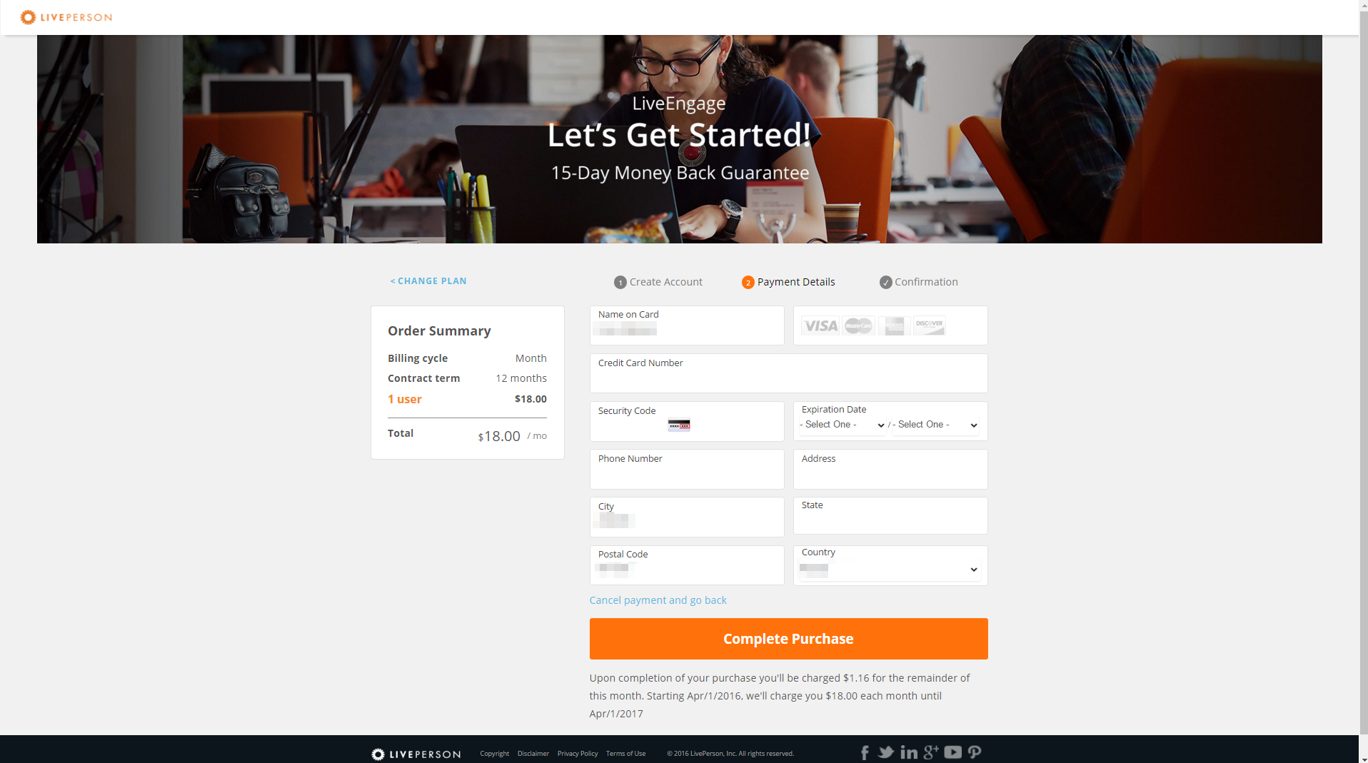 Liveperson - SaaS Payment Form