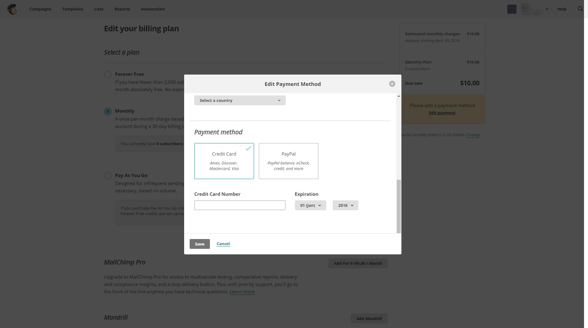 MailChimp - SaaS Payment Form