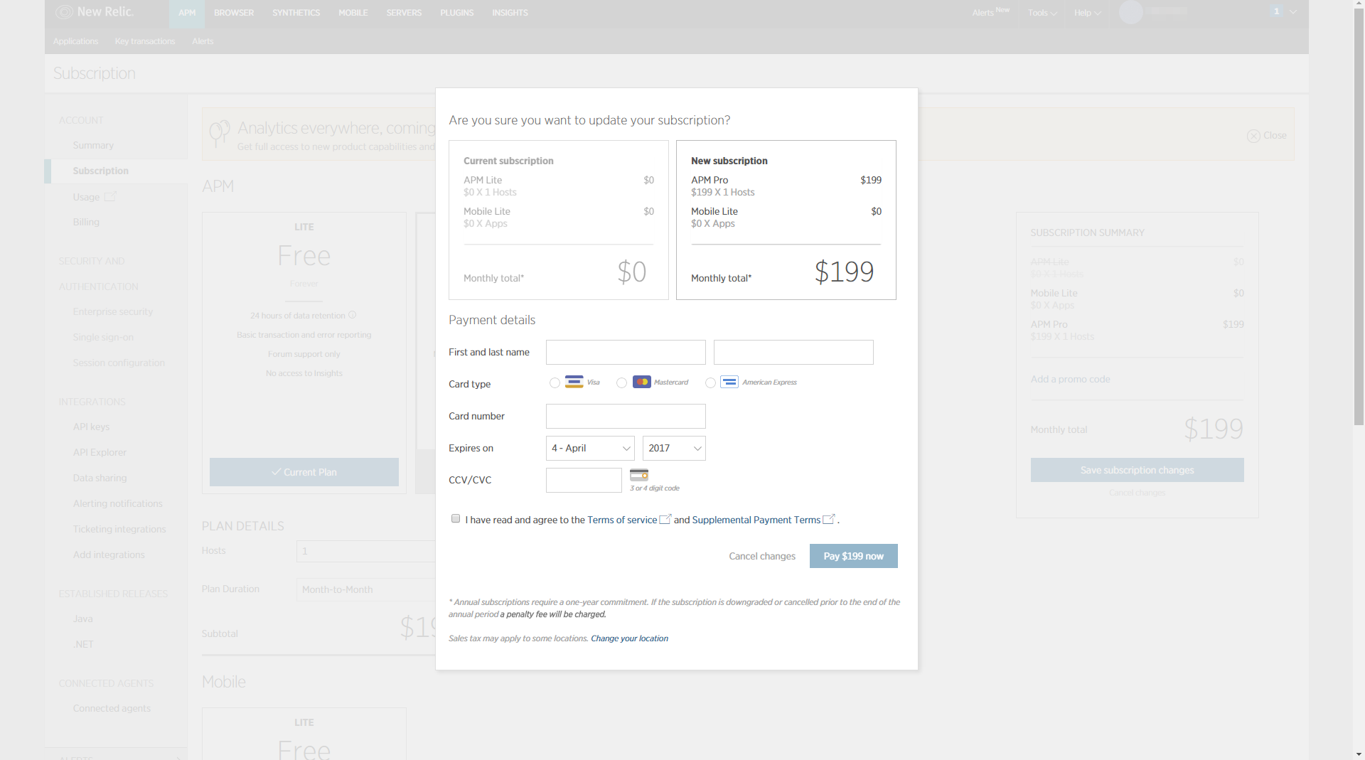 New Relic - SaaS Payment Form