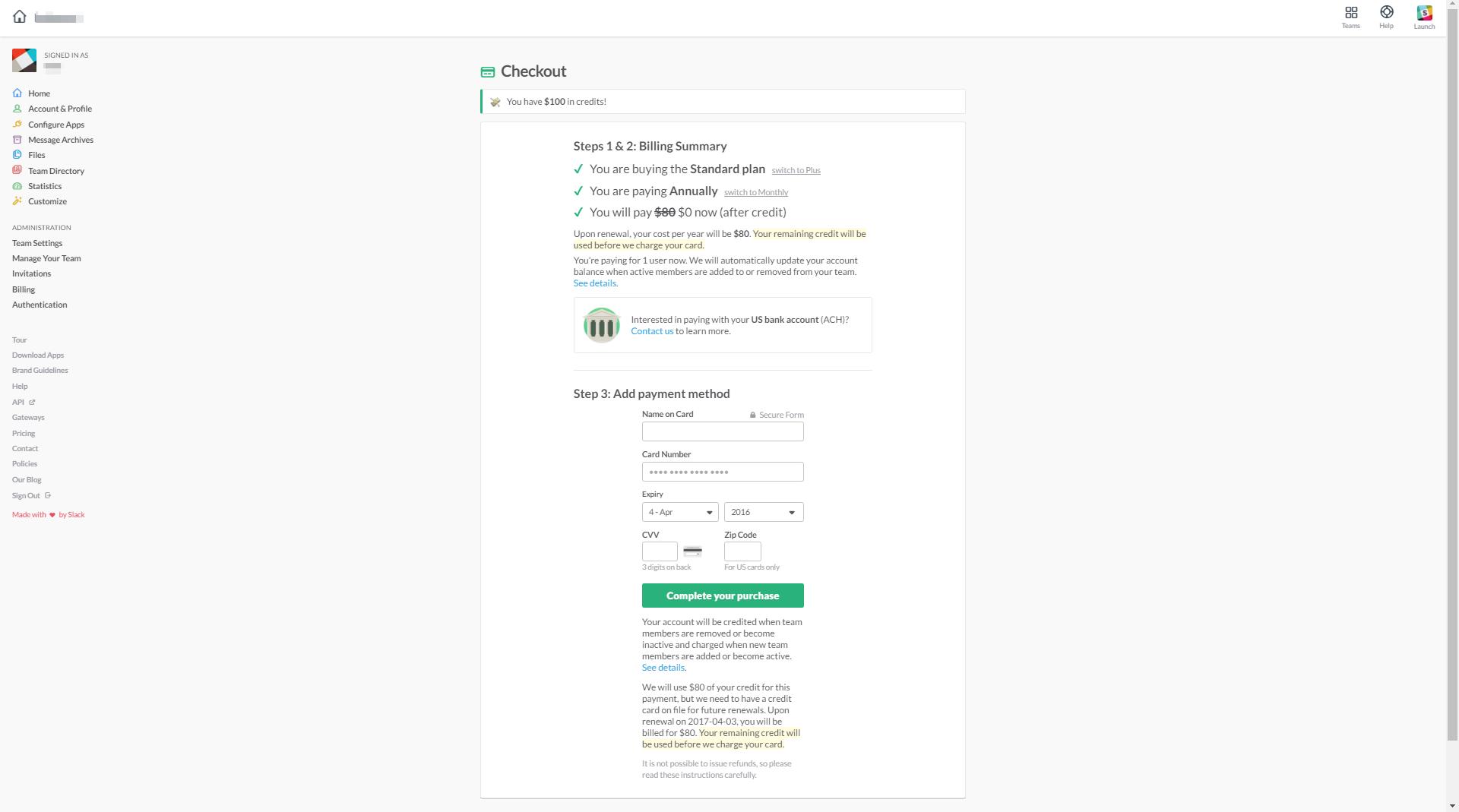 Slack - SaaS Payment Form