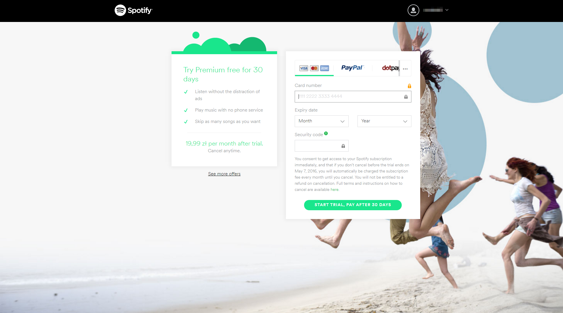 Spotify - SaaS Payment Form