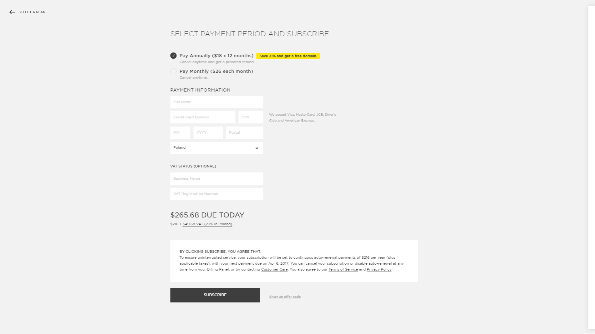 Squarespace - SaaS Payment Form