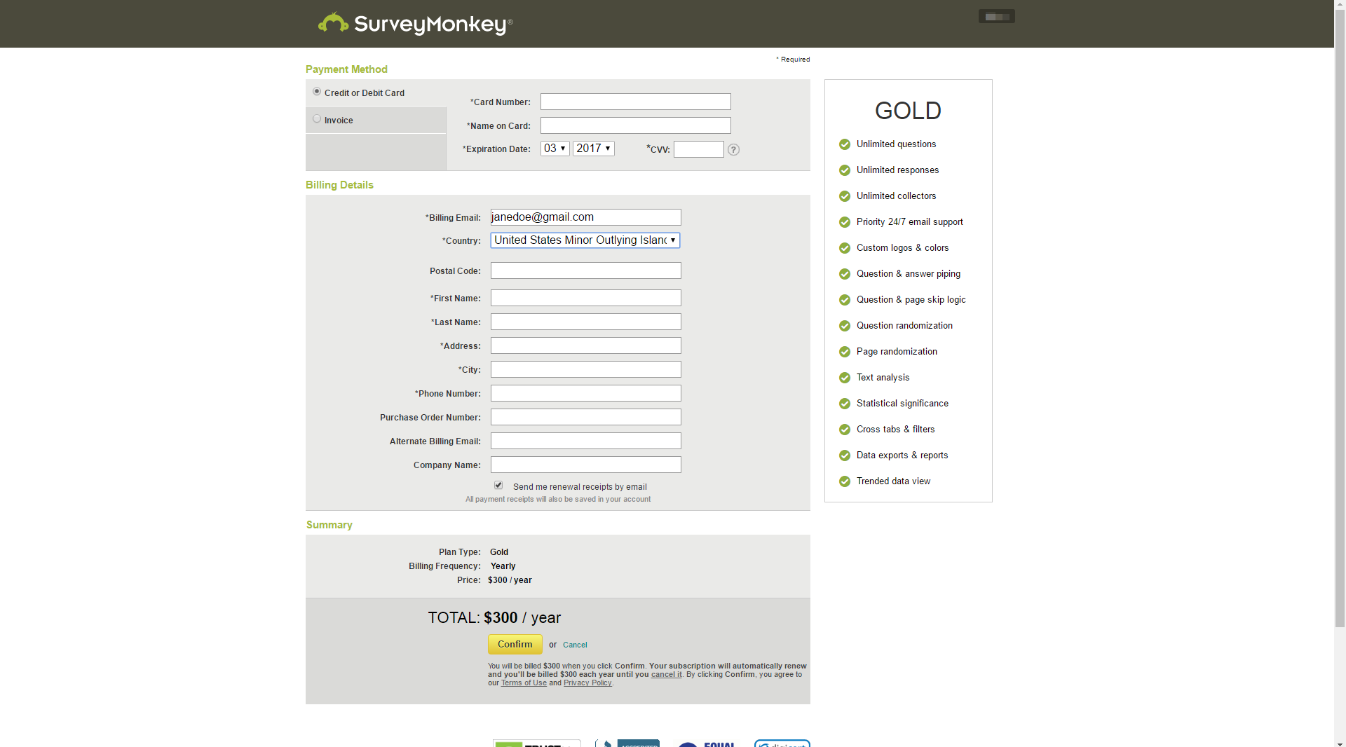 SurveyMonkey - SaaS Payment Form
