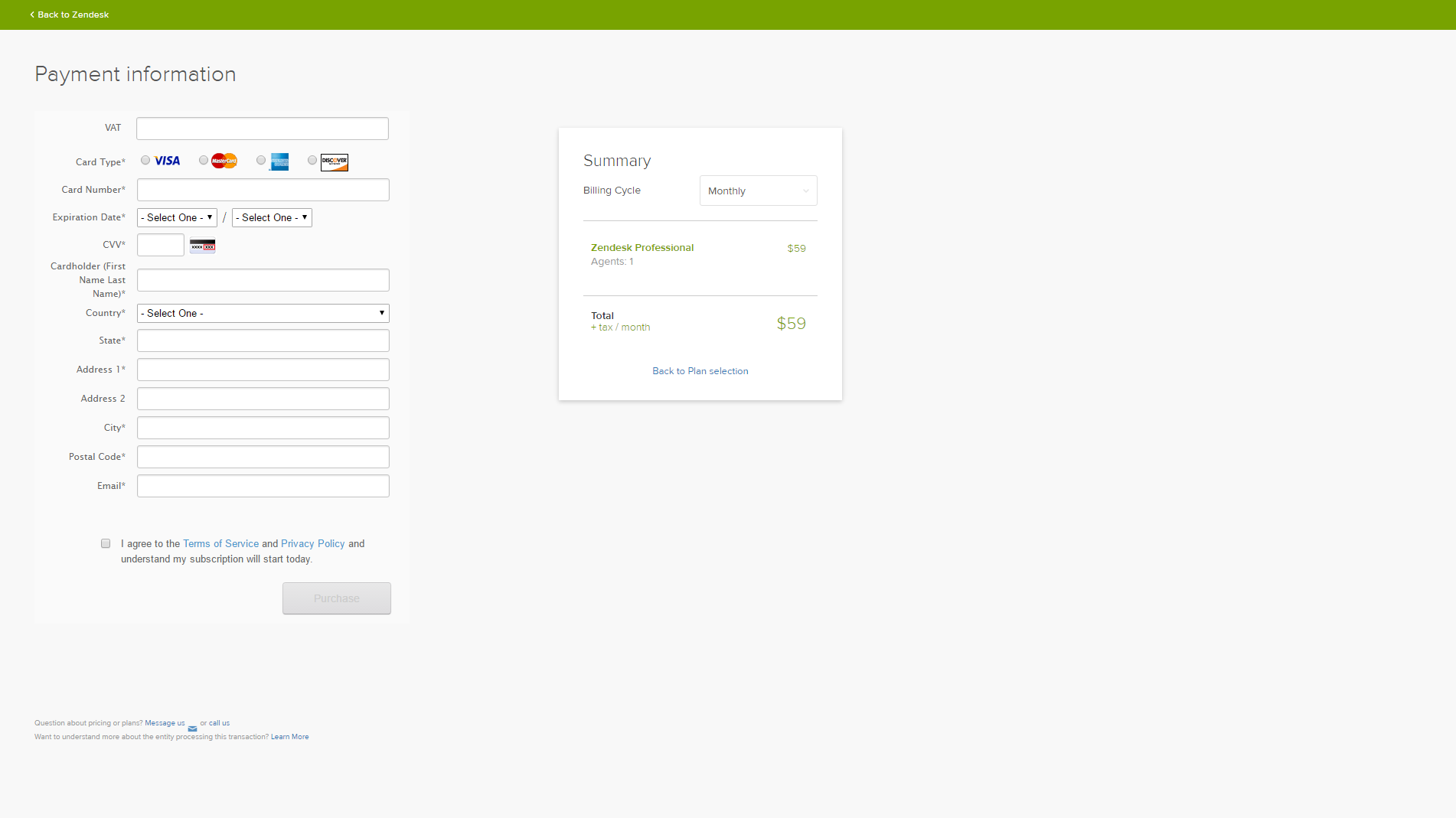 Zendesk - SaaS Payment Form