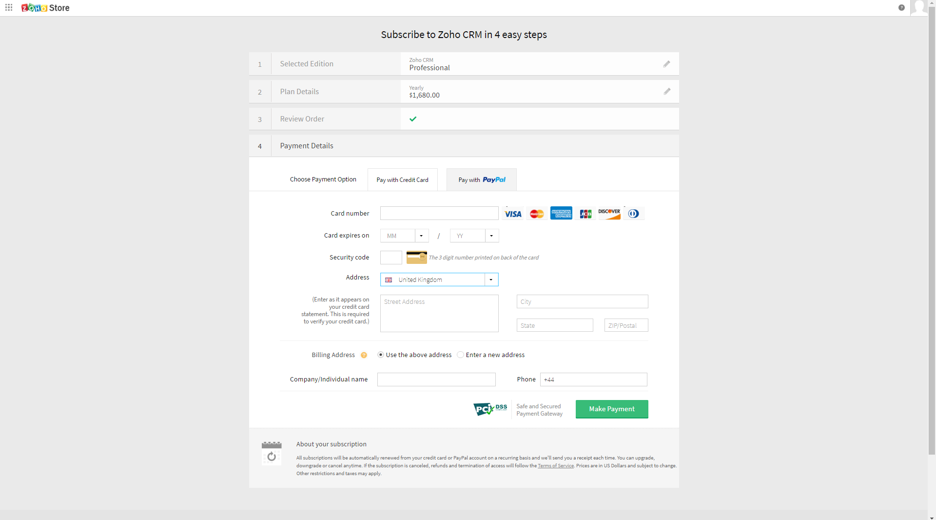 Zoho - SaaS Payment Form